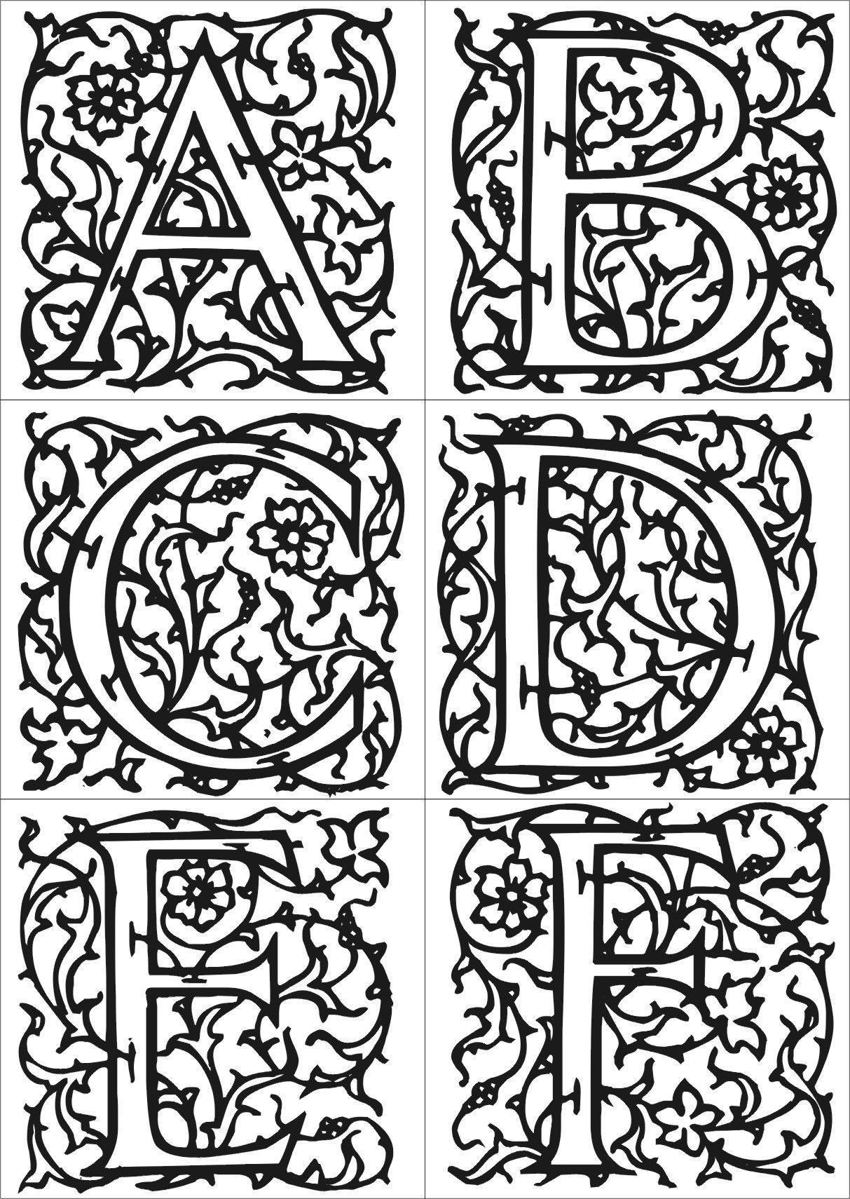 Des lettres az coloriage xpx coloriage enluminure lettre v page 2 car - Comment Dessiner Une Enluminure Du Moyen Age