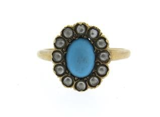 Antique 14k Gold Pearl Turquoise Ring Available @ hamptonauction.com at the Fine Jewelry Watches Coins and Collectibles Auction on January 26, 2015! Come preview our catalog!