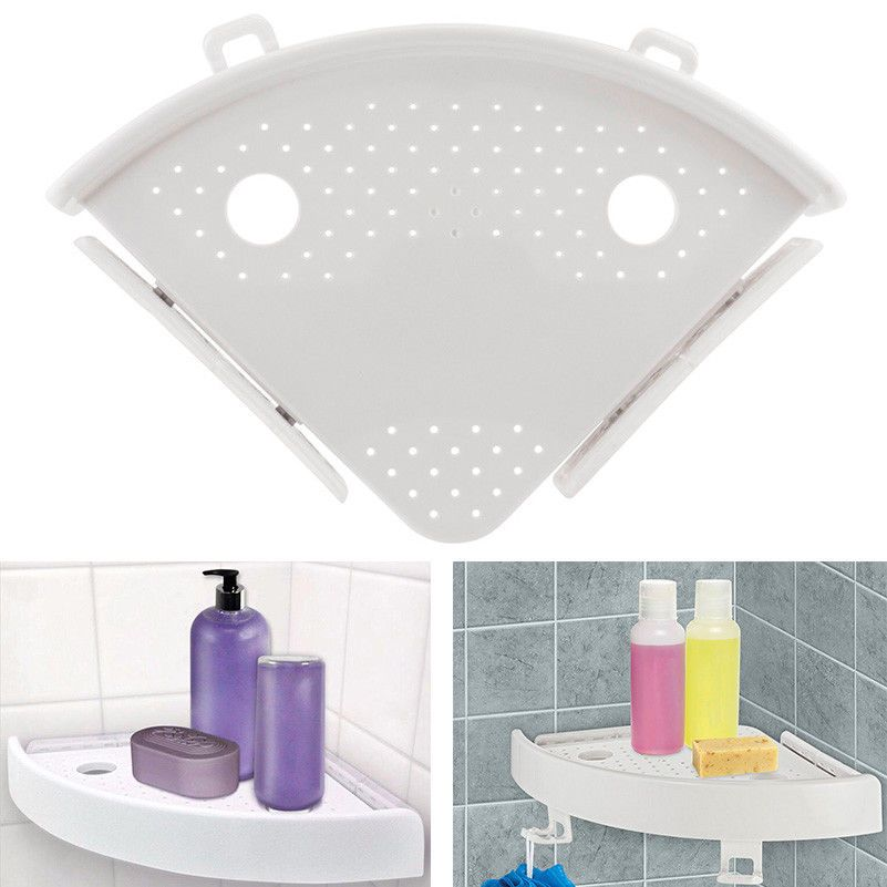Bathroom Quick Fix Corner Easy Snap Shelf Rack Grip Up to 4kg Easy Wall Plastic