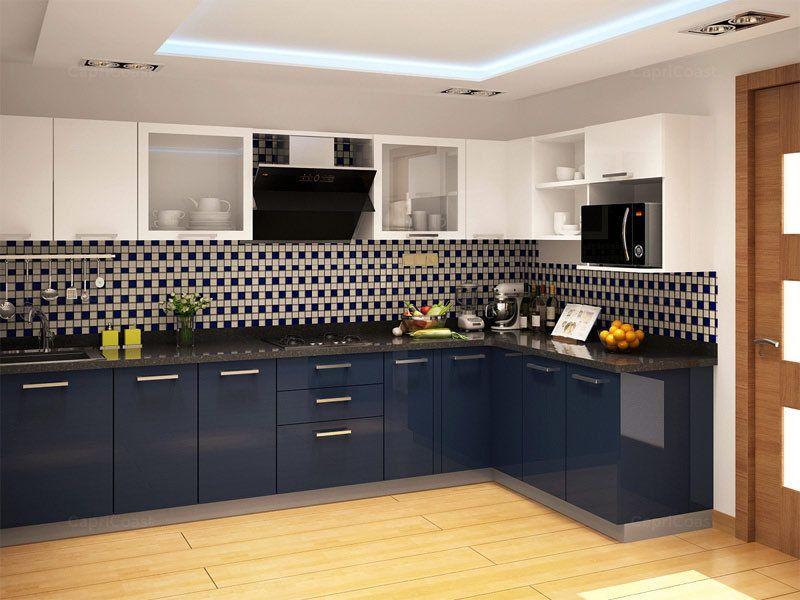 Znalezione Obrazy Dla Zapytania Navy Gloss Kitchen L Shaped Modular Kitchen Kitchen Remodel