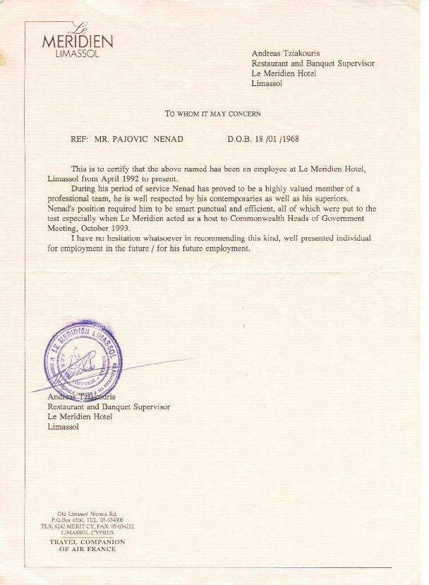 Image result for CERTIFICATE OF EMPLOYMENT le meridien hotel  m  Guest services Certificate