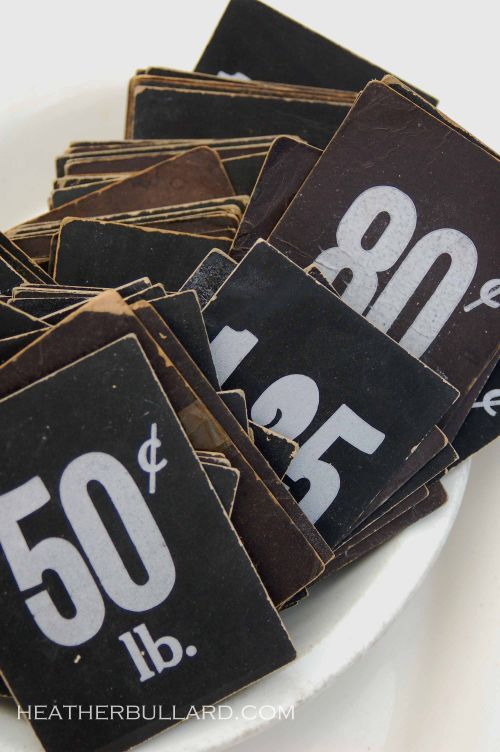 Old cardboard price tags #bakery  www.instorevoyage.com #in-store marketing#visual merchandising