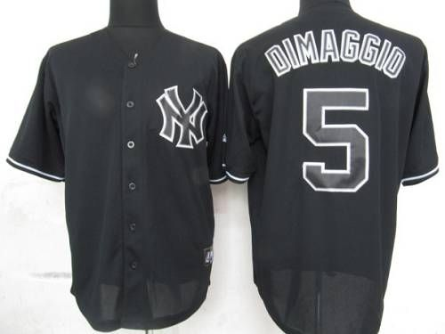 Yankees  5 Joe DiMaggio Black Fashion Stitched MLB Jersey  274aa260781