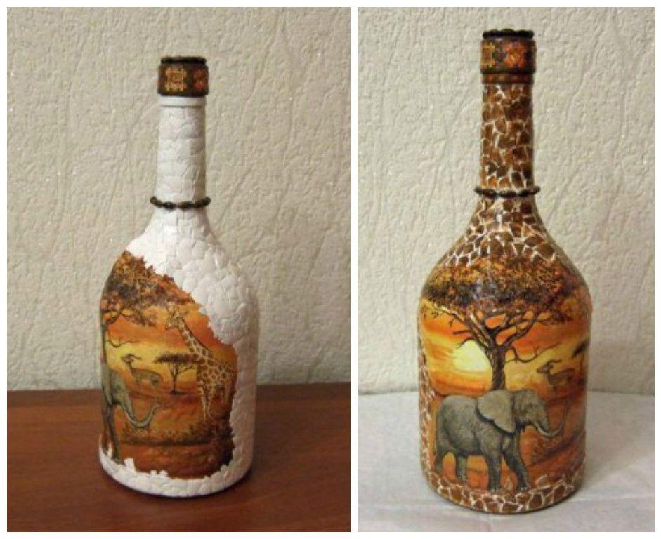 Aprende Cómo Decorar Botellas Con Servilletas De Decoupage Y Cascaras De Huevo Cómo Decorar Botellas Decoración De Botellas Botellas Decoradas