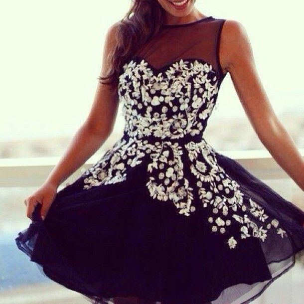 White dress with blue flowers prom dress