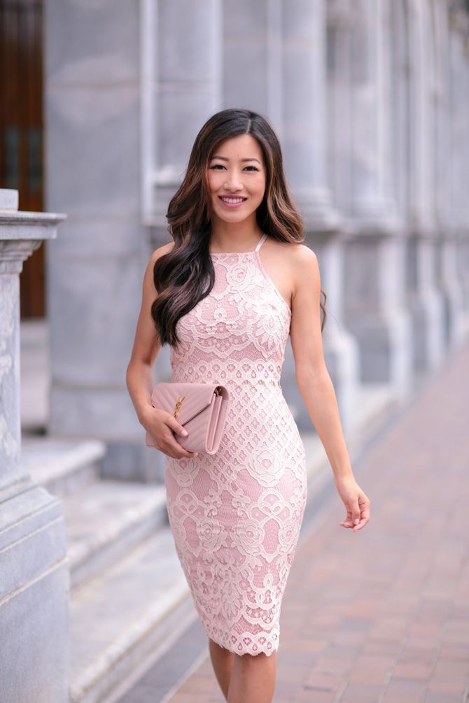 Wedding Guest Outfit Idea Blush Pink Lace Pencil Dress Item