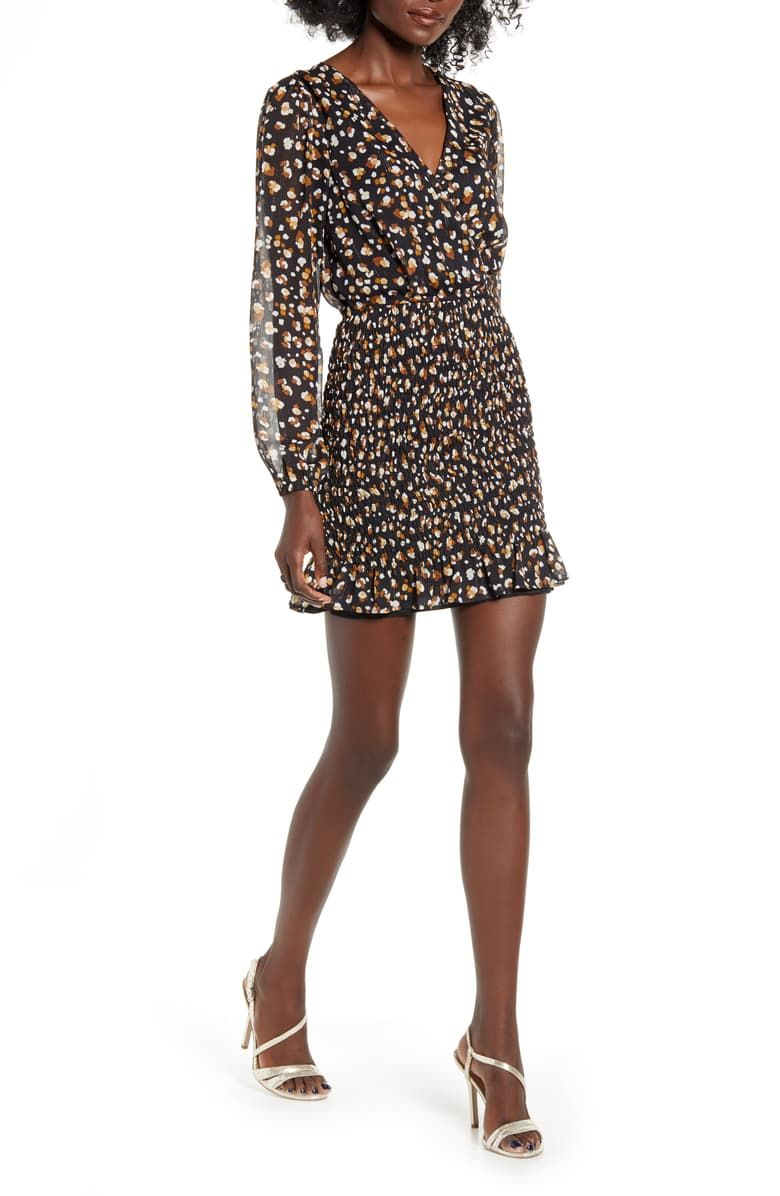 Row A Smocked Long Sleeve Chiffon Minidress Nordstrom Chiffon Long Sleeve Mini Dress Chiffon Mini Dress [ 1196 x 780 Pixel ]