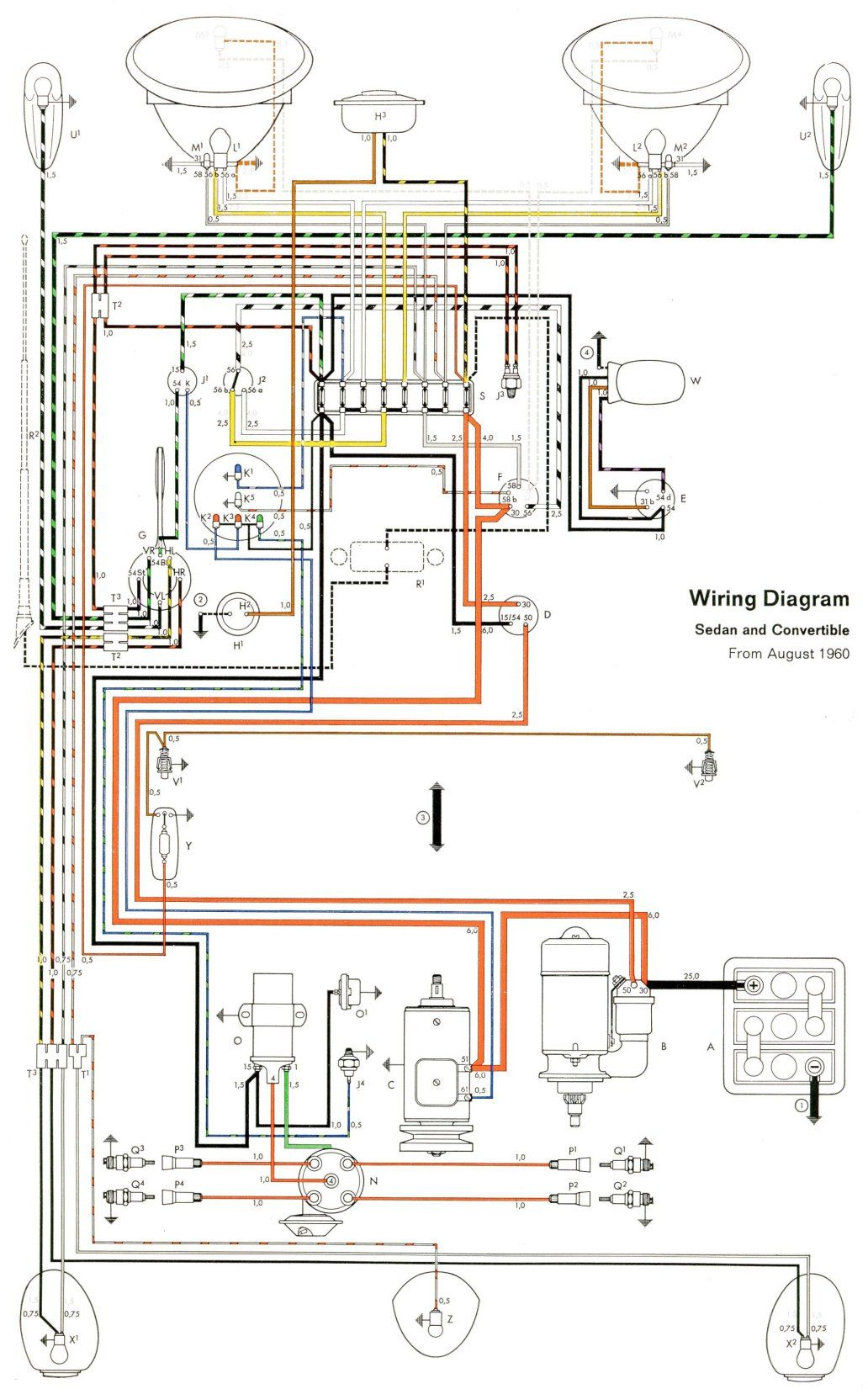 1961 beetle wiring diagram | vw beetles, vw bug, vw dune buggy  pinterest