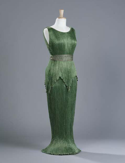 Mariano Fortuny Delphos Pleated Green Silk Evening Dress C 1910 1920