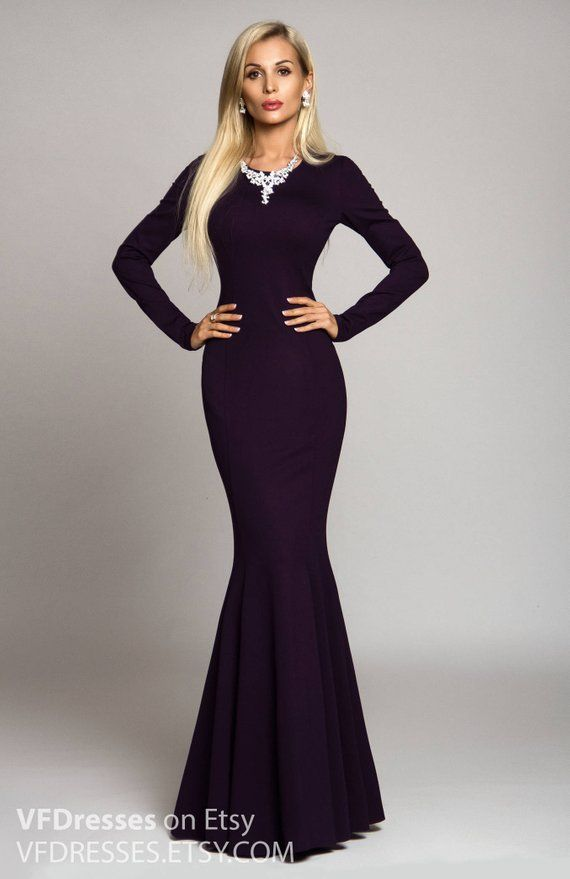 c582e0d06d31e Long dress, dark purple dress, Maxi dress, Evening dress, special ...