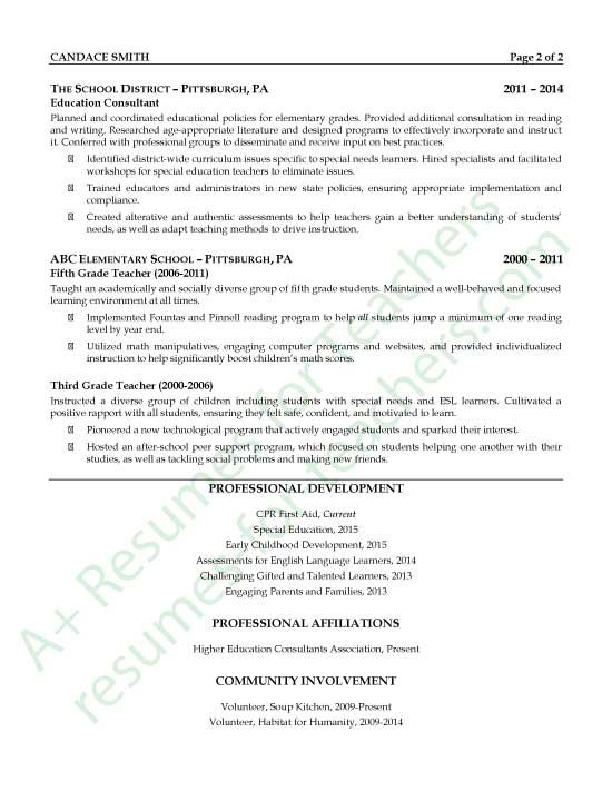 Education Consultant Resume Sample - Page 2 Education consultant - education resume example