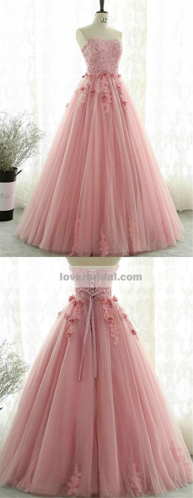 Sweetheart Blush Pink Lace Evening Prom Dresses, Sweet 13 Dresses