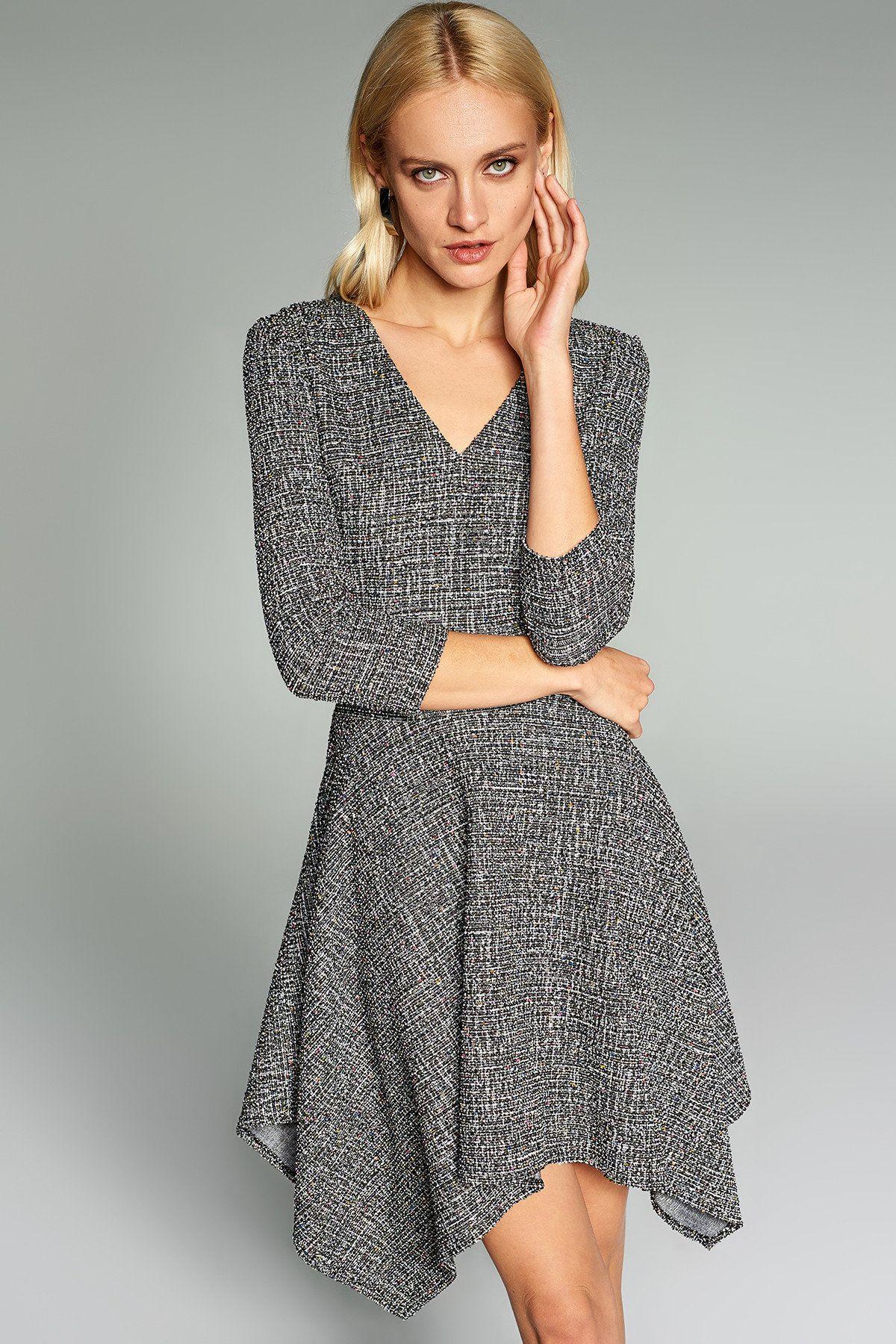 Siyah Asimetrik Detayli Elbise Trendyolmilla Trendyol Elbise Elbise Modelleri Wrap Elbise