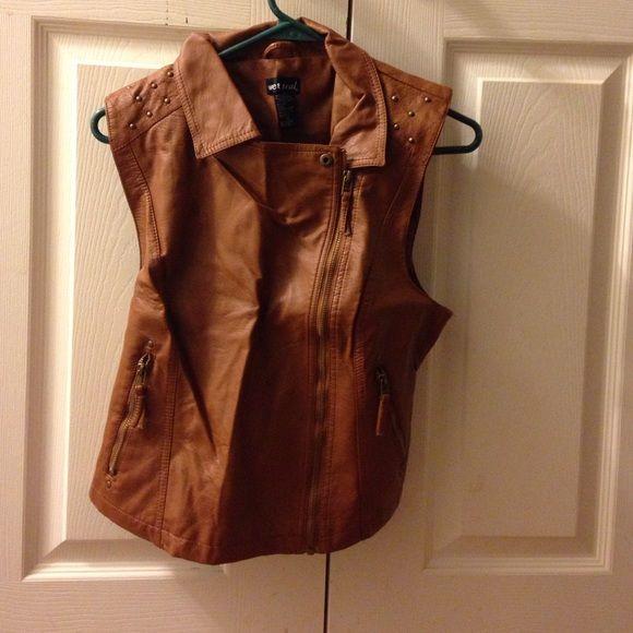 Brown leather vest Brown leather vest with bronze studs Wet Seal Jackets & Coats Vests