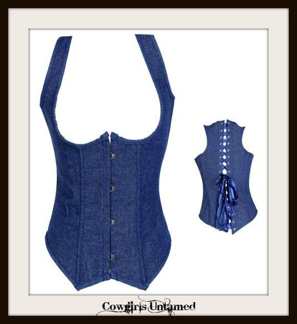 f8f54e2a4a6 CORSET - Jean Underbust Lace Up Back Halter Style Western Corset Bustier Top  Shirt