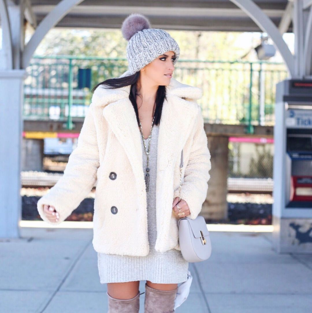 5a1a84eaec7a Blogger Sarah Lindner of The House of sequins wearing free people Teddy  Peacoat and free people Happy Trails Pom Beanie