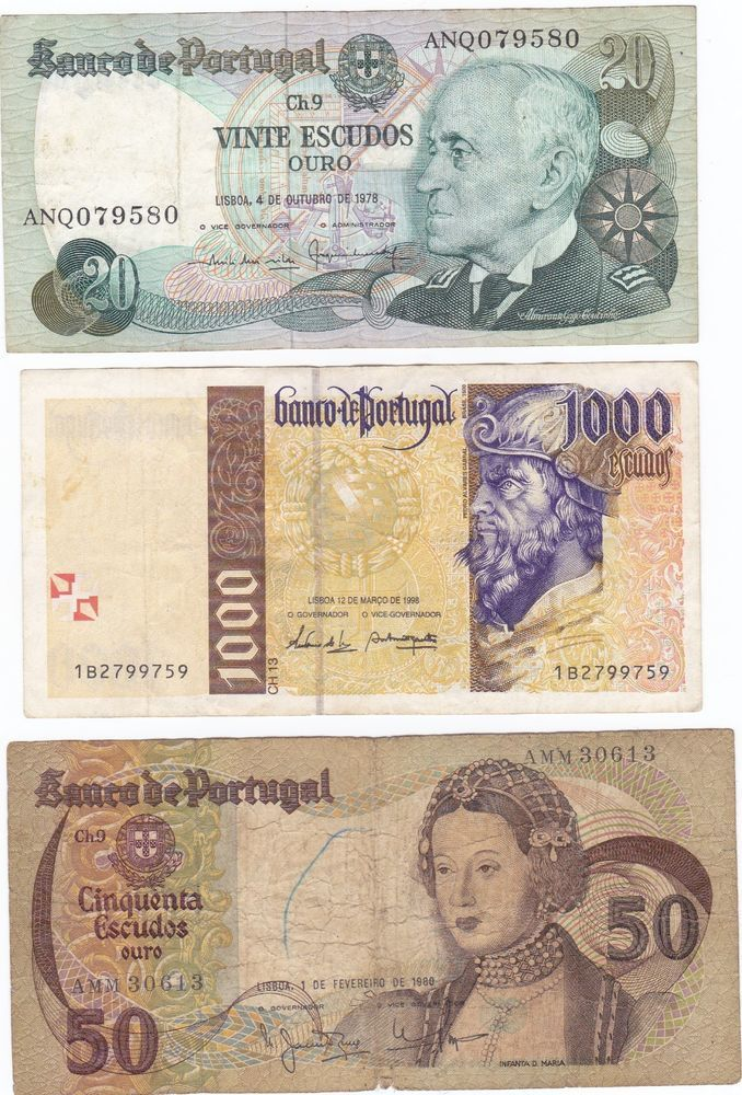 Portugal lot of 3 old banknotes paper money banknote very fine ...