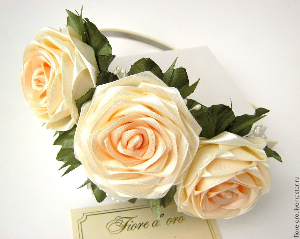 Купить Ободок Флориана - розы ручной работы, украшение для волос, украшения ручной работы