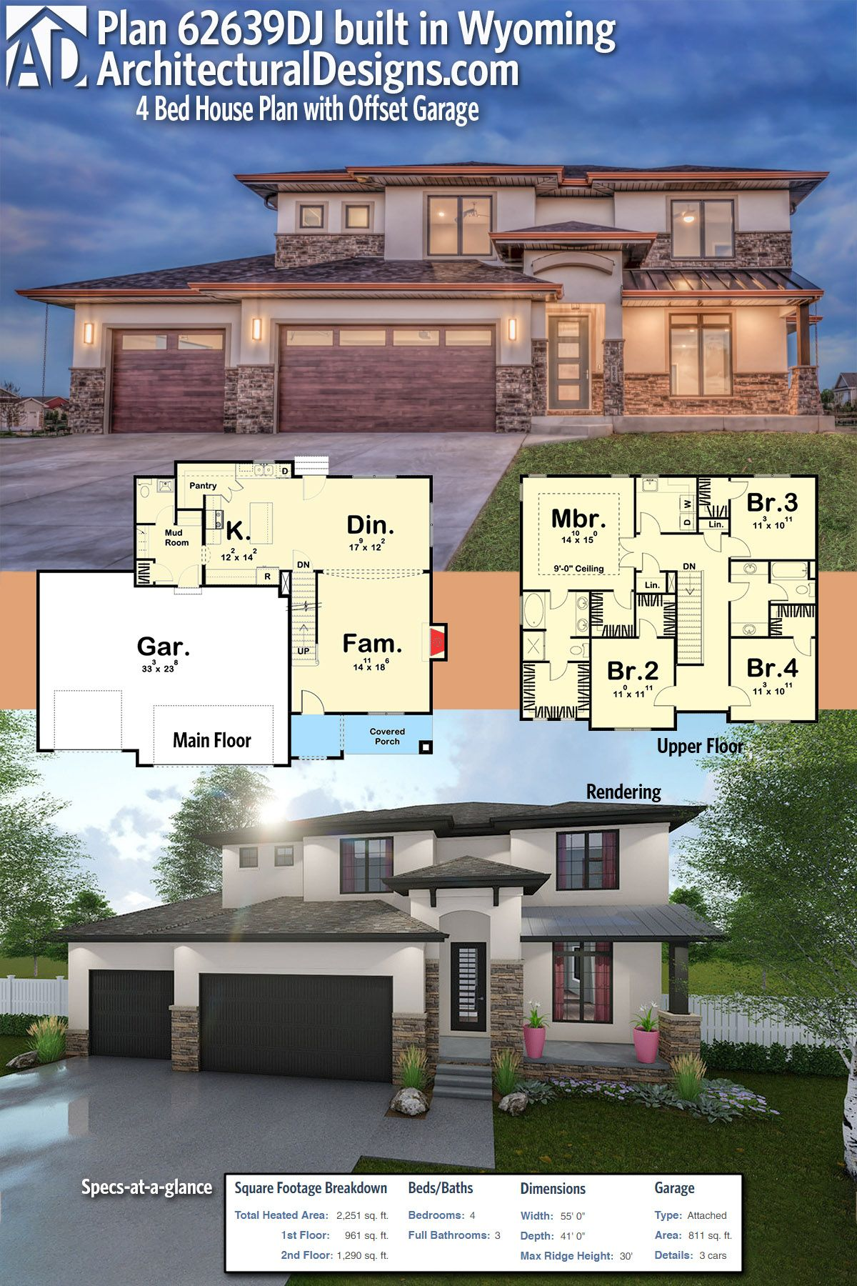 Plan 4 Bed House Plan with Offset