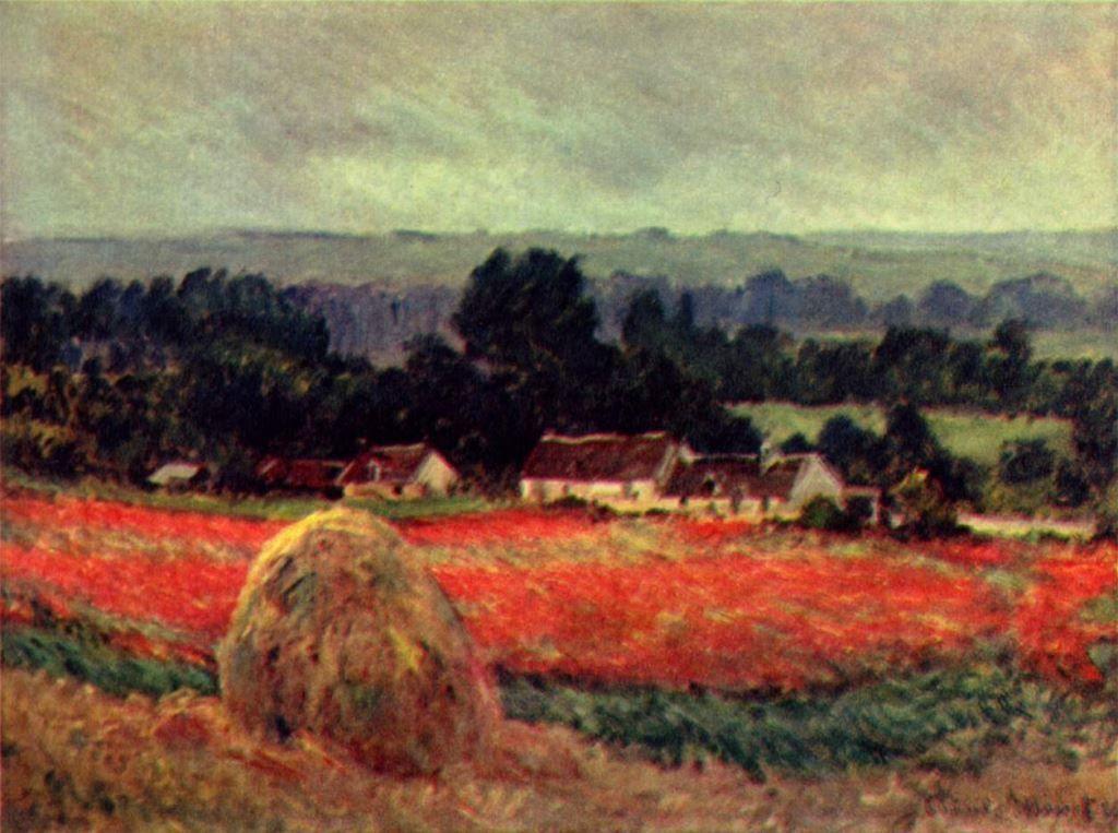 Landschaftsmalerei impressionismus  Claude Monet. Das Mohnblumenfeld (Der Heuschober). 1885, Öl auf ...