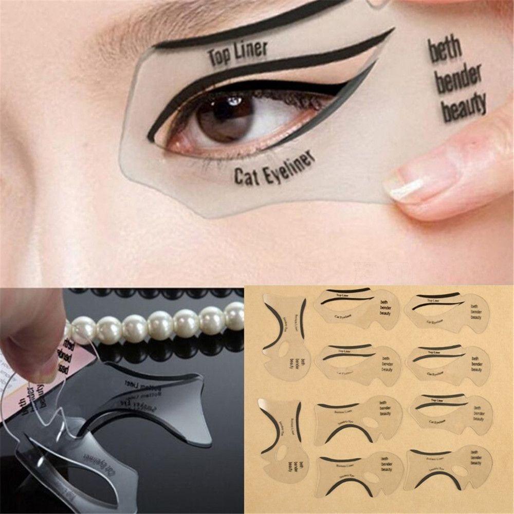10 pcs Beauty Eyeliner Stencil Models Shaper Template Bottom Liner ...
