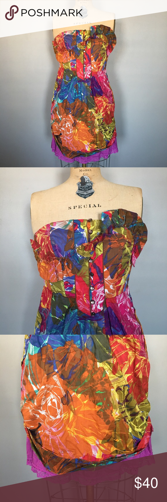 "Moulinette Soeurs Anthro Dress So beautiful! Gently worn with absolutely no signs of wear. Skirt is gathered at the sides, ruching in back. Lined with pockets. Measurements: bust 30"" waist 26"" total length 28"". Anthropologie Dresses Strapless"