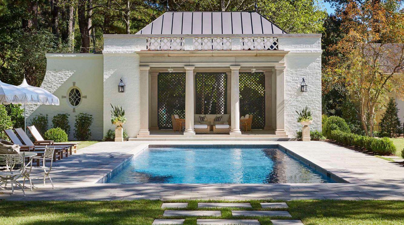 Brick Basics Marie Flanigan Interiors Prefab Pool House Pool Houses Modern Pool House