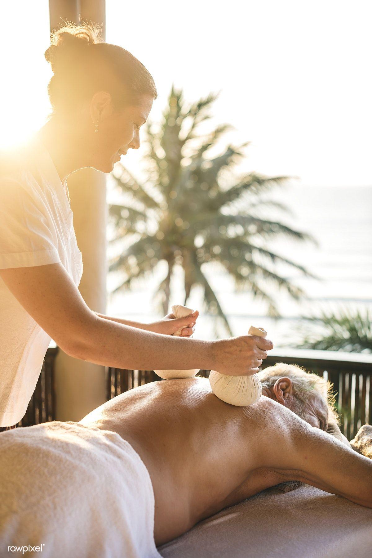 Download premium image of A senior having a massage 418970