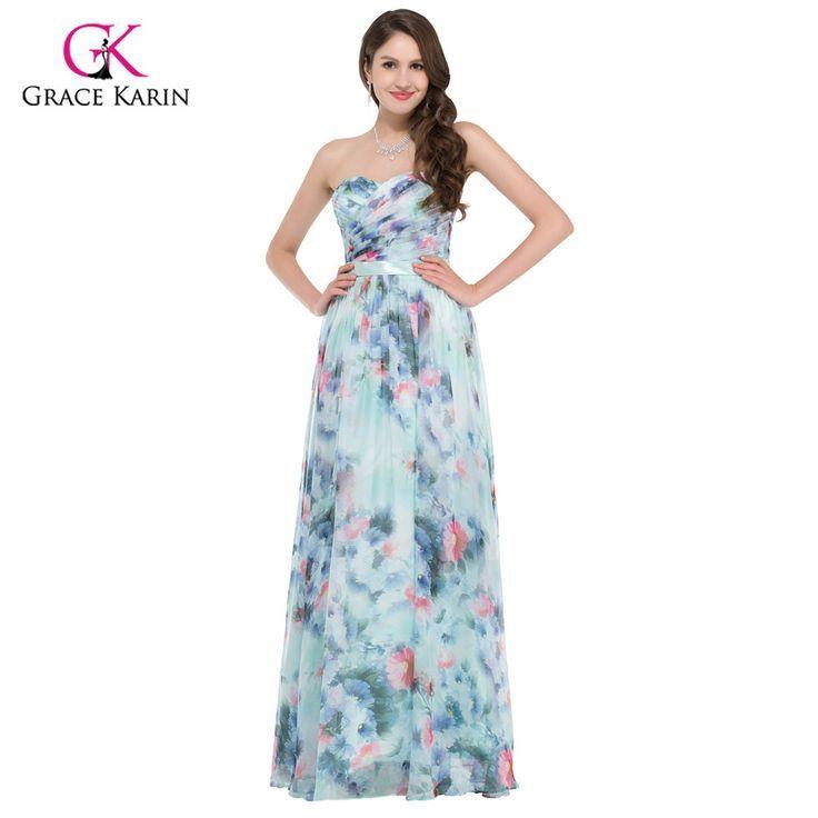 28aa4d22d63b Abiti da sera a buon mercato Grace Karin eleganti fiori stampa floreale abiti  da sera 2017