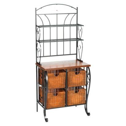 Southern Enterprises Iron Baker S Rack With Wicker Storage Black