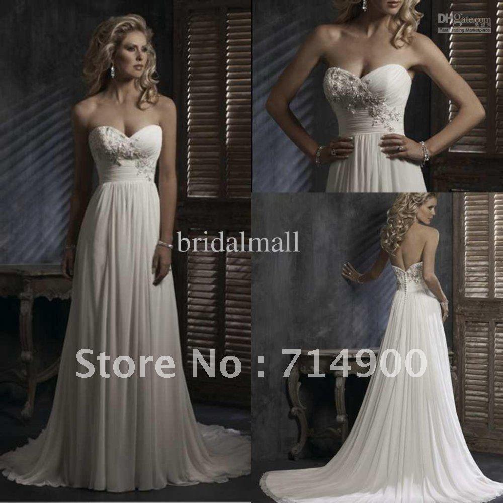 Sweetheart empire waist chiffon sheath casual wedding dressdresses