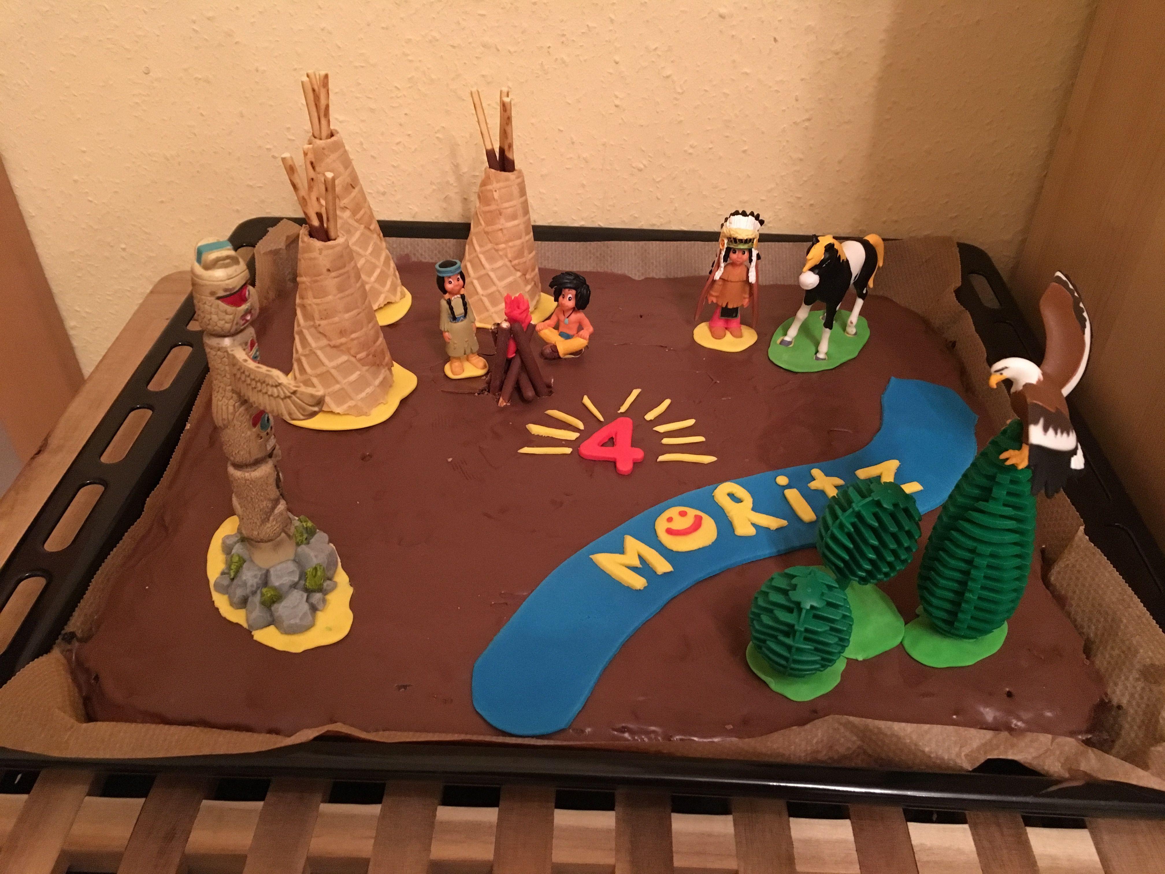 Indianer Geburtstag Indianer Kuchen Mit Yakari Figuren