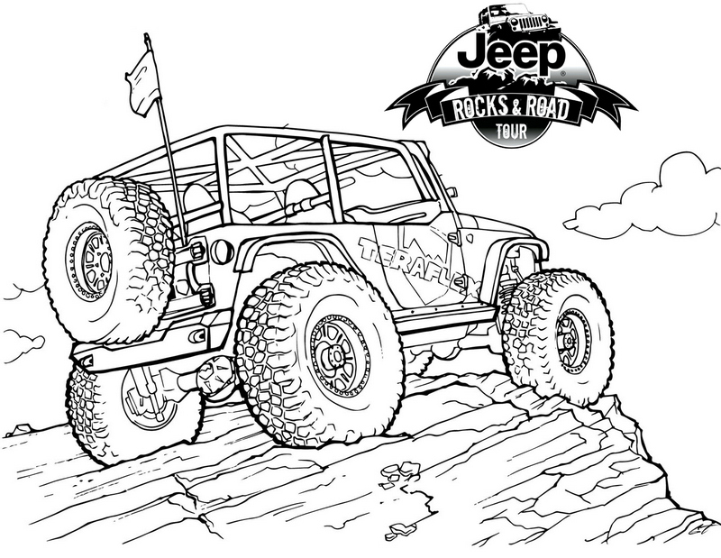 Jeep on Mountain Coloring Pages | Jeep drawing, Jeep art ...