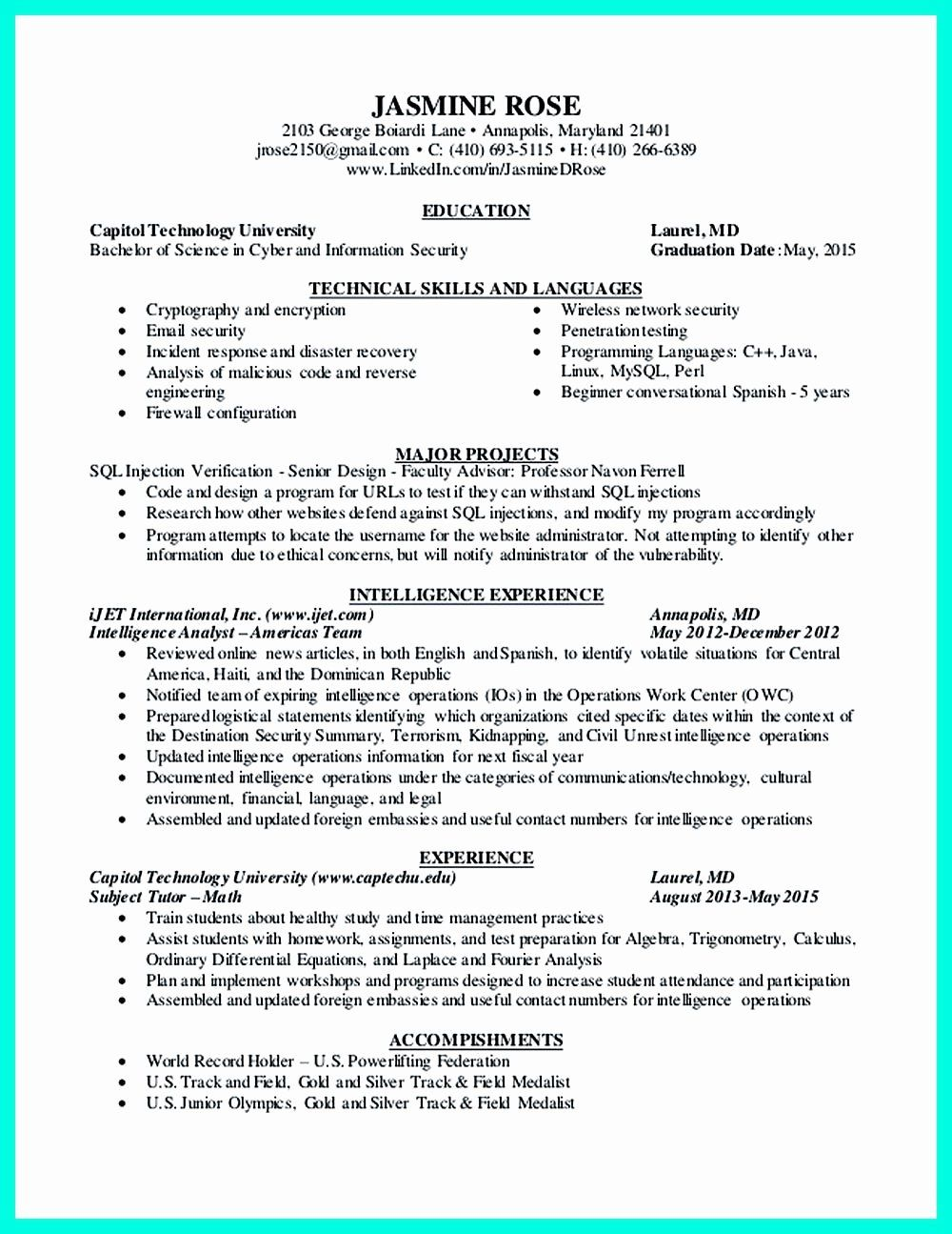 Entry Level Security Analyst Resume Inspirational Pin On
