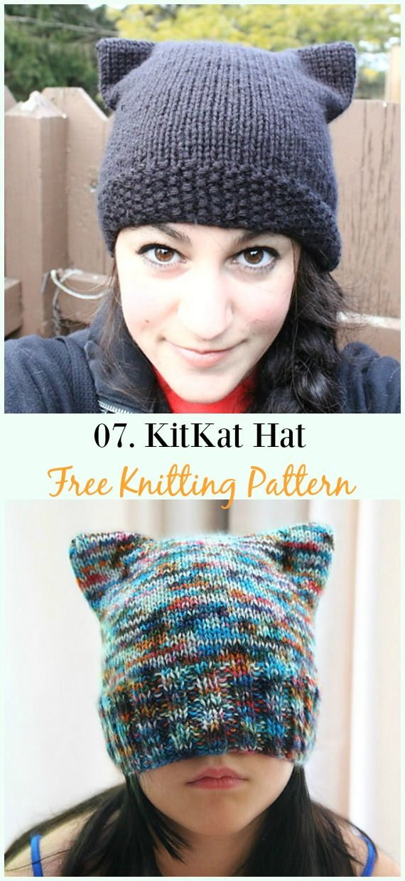 Kitty Cat Hat Knitting Patterns Size Baby to Adult Free #knittingideas
