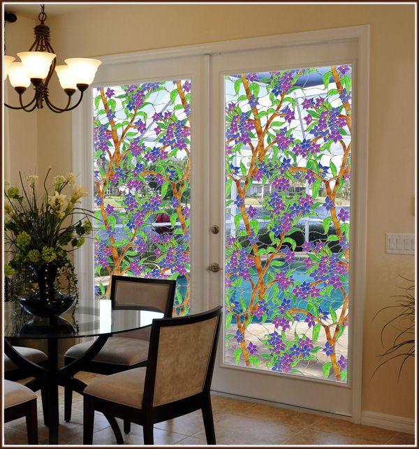Tiffany Stained Glcling Biscayne See Thru Window Film Wallpaper For Windows