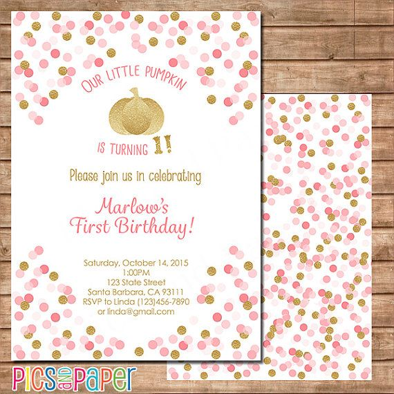 Gold and Pink Birthday Invittaion Little Pumpkin by PicsandPaper