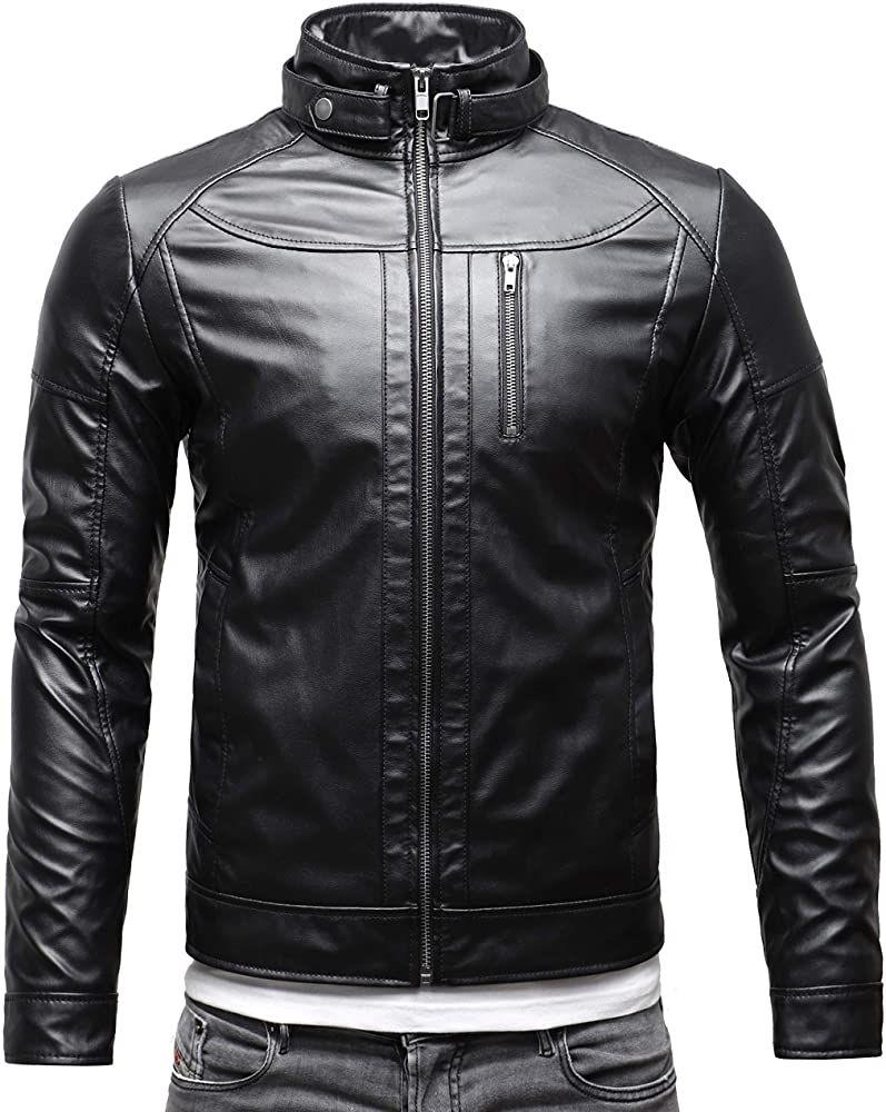Marcucci Faux Leather Jacket Zeno Men S Slim Fit Motorcycle Stand Collar Jacket Xl Black Faux Leather Jacket Men Leather Jacket Outfit Men Leather Jacket [ 1000 x 797 Pixel ]
