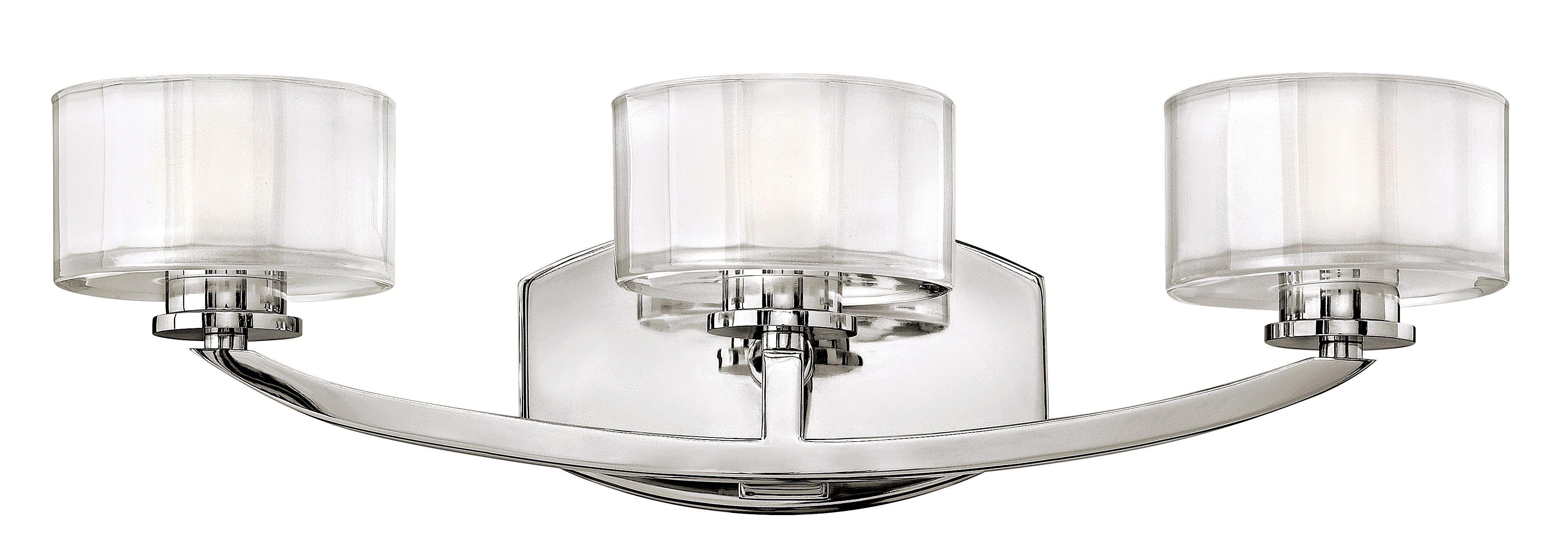 Hinkley meridian chrome modern three light bath fixture euro style