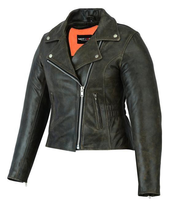 Ladies Womens Motorbike Biker Racing Leather Jacket CE Armoured Dark Brown