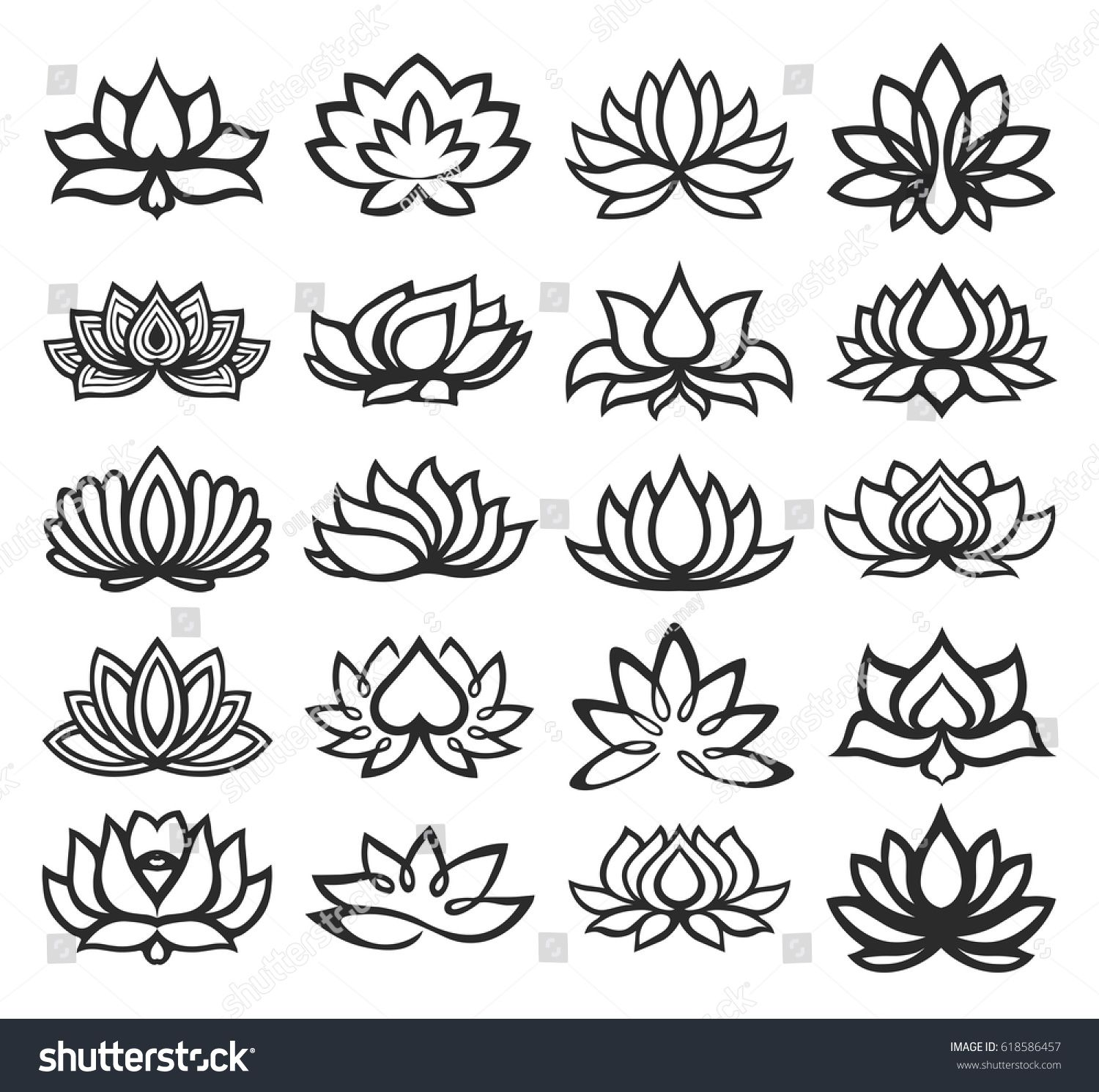 vector set of lotus icons tatuajes tatouage tatouage