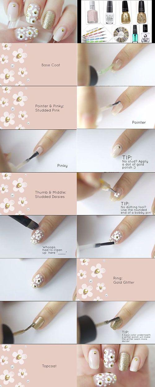 How To Do Nail Art At Home Daisy Nail Art Daisy Nails And Art