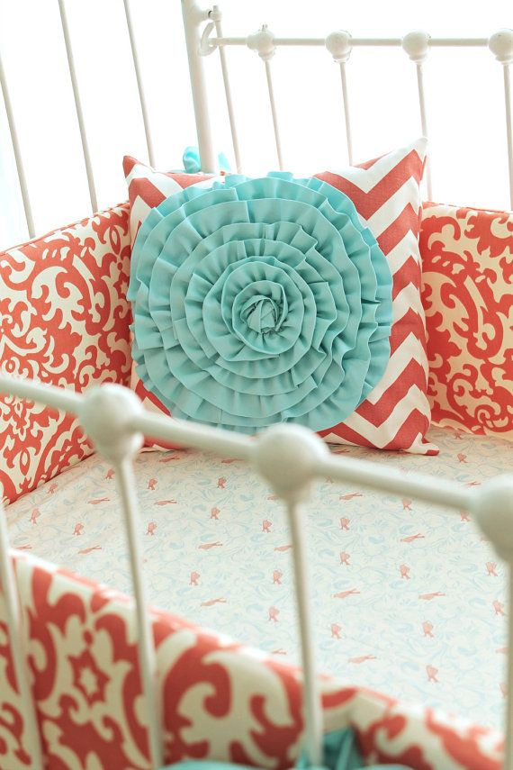 Coral Crib Bedding Coral Aqua Damask Ruffles 3 Piece Sert 450 00