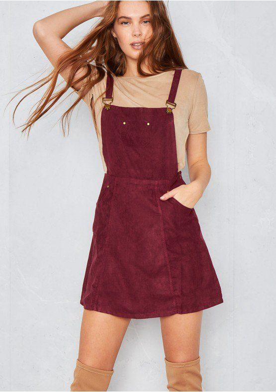 f66ce1e8b2a Alita Wine Seude Pinafore Dress Missy Empire