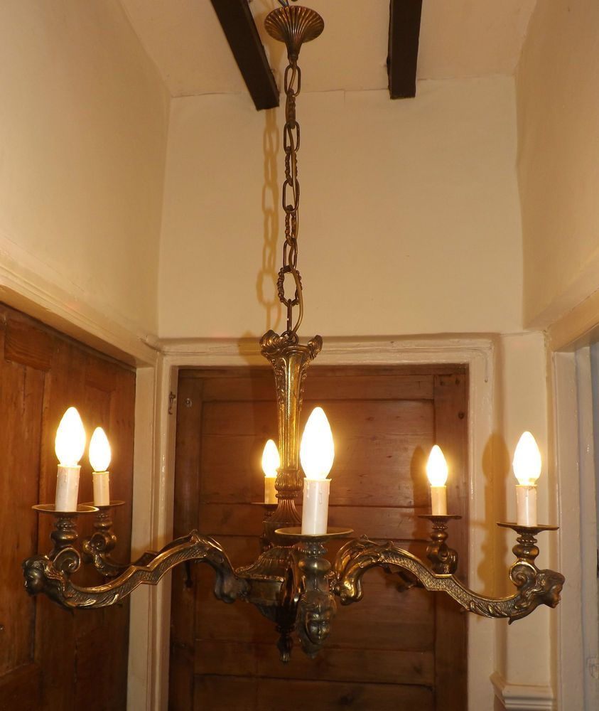 Antique bronze gilt chandeliermermaid nauticalge ceiling light antique bronze gilt chandelier mermaid nautical huge ceiling light lamp stunning arubaitofo Images