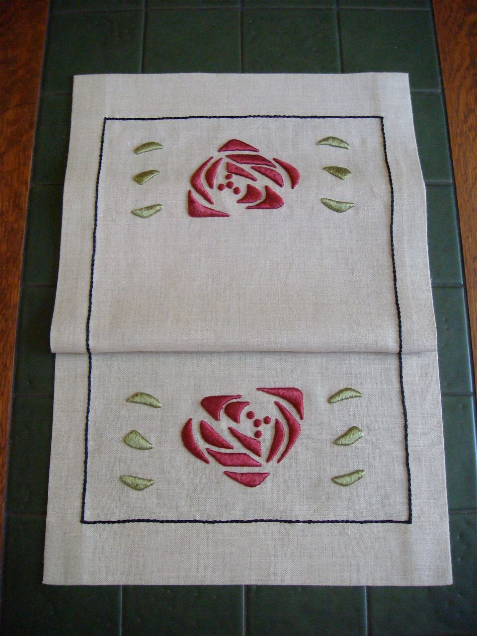 Glasglow Inspired Rose Table Runner Silk Embroidery Kit Arts and Crafts, Craftsman Style by paintbythread on Etsy https://www.etsy.com/listing/125854464/glasglow-inspired-rose-table-runner-silk