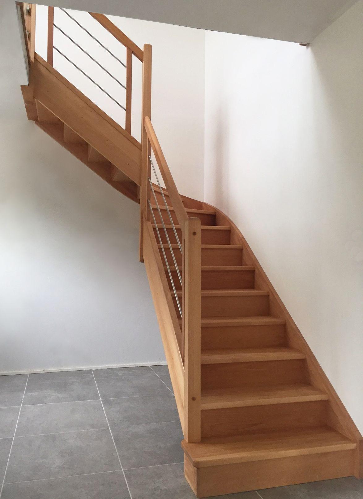 Escalier Quart Tournant En Bois Et En Inox Sur Mesure Cet