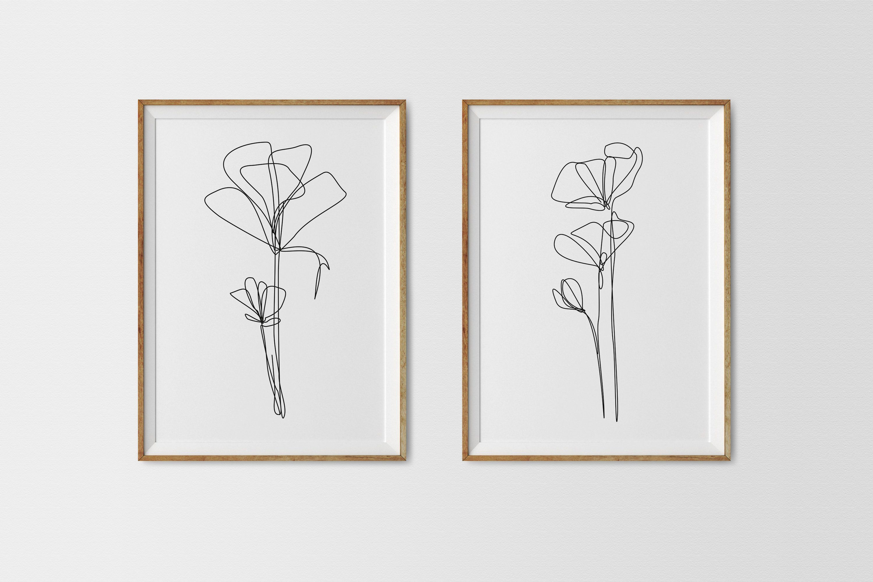 SET One line Floral Drawing Printable Poppies Poppy Poster ...