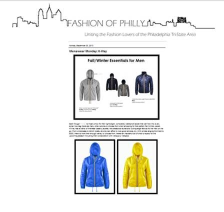 Philadelphia fashion blog Fashion of Philly featured K•WAY in their Fall/Winter Essentials roundup. #KWAY
