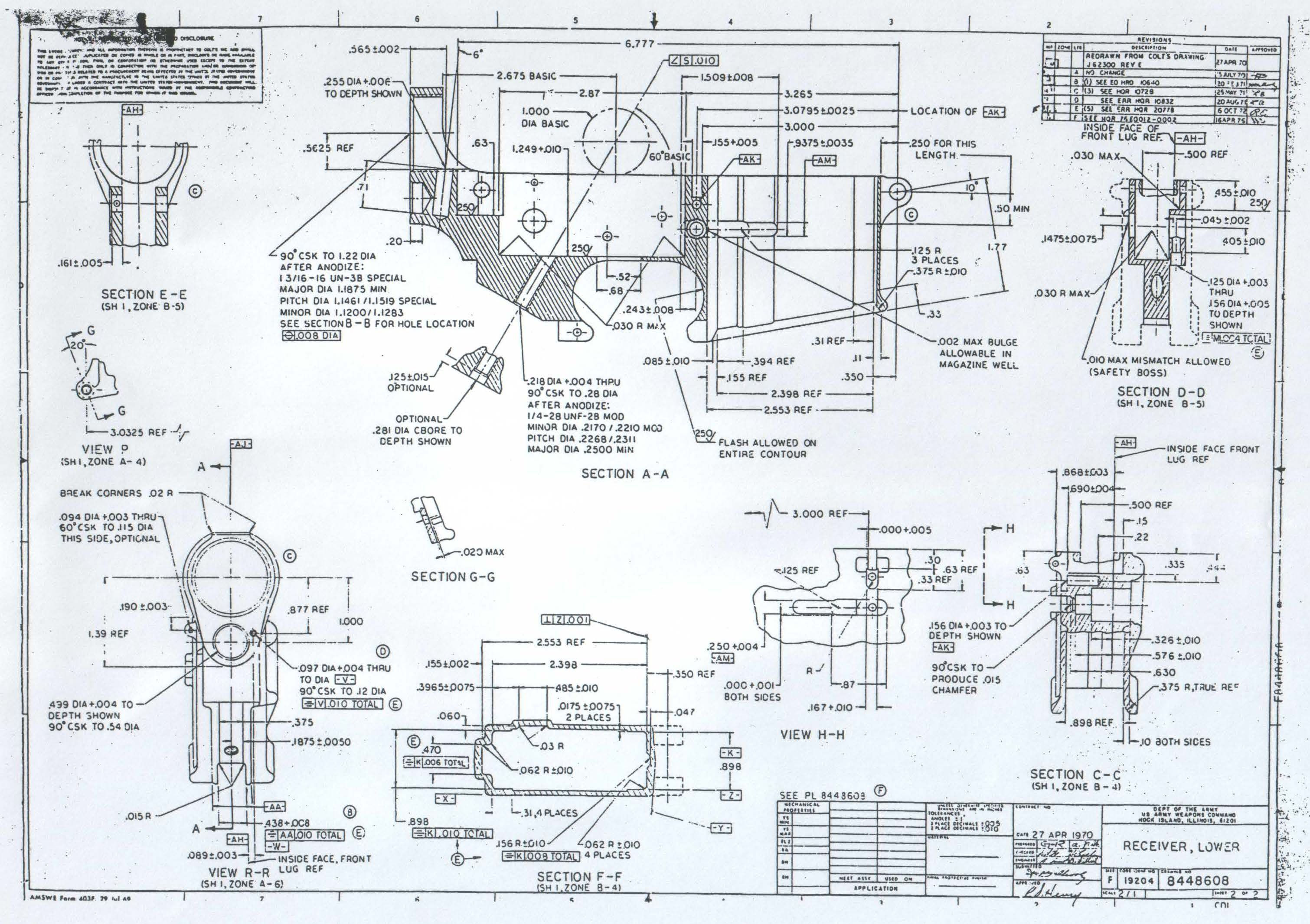 hight resolution of original army ordinance department blueprints for the ar 15 lower reciever
